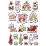 Imaginisce - Cottage Christmas Collection - 3 Dimensional Epoxy Glass Stickers - Shiny and Bright