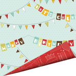 Imaginisce - Birthday Bash Collection - 12 x 12 Double Sided Paper with Glossy Accents - Birthday Banners