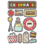 Imaginisce - Birthday Bash Collection - 3 Dimensional Epoxy Glass Stickers - Celebrate, CLEARANCE