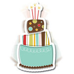 Imaginisce - Birthday Bash Collection - 3 Dimensional Springing Stickers with Glossy Accents - Piece of Cake, CLEARANCE