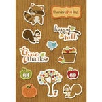 Imaginisce - Apple Cider Collection - Denim Stickers - Thanks-give-ing