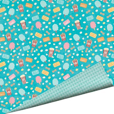 Imaginisce - Animal Crackers Collection - 12 x 12 Double Sided Paper with Glossy Accents - Hot Buttered Popcorn!