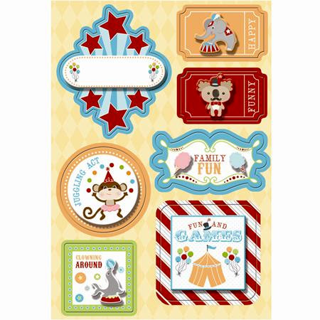 Imaginisce - Animal Crackers Collection - Stickers Stackers - 3 Dimensional Stickers with Glossy Accents - Fun and Games