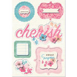Imaginisce - Garden Party Collection - Sticker Stackers - 3 Dimensional Stickers with Glossy Accents - Poppin' Petal Tags