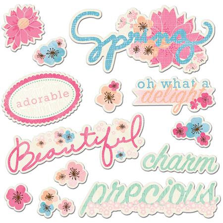 Imaginisce - Garden Party Collection - Die Cut Cardstock Pieces with Glossy Accents - Flourish Titles