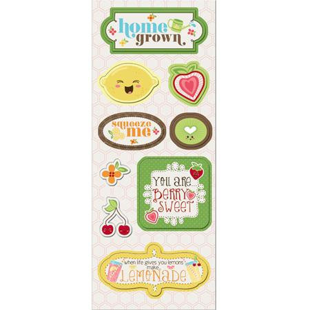 Imaginisce - Berrylicious Collection - Chipboard Stickers with Glossy Accents - Home Grown