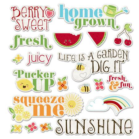 Imaginisce - Berrylicious Collection - Die Cut Cardstock Pieces - Fresh Phrases