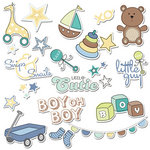 Imaginisce - Little Cutie Collection - Die Cut Cardstock Pieces with Glossy Accents - Teddy's Toy Box - Boy