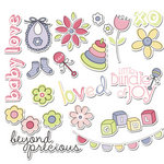 Imaginisce - Little Cutie Collection - Die Cut Cardstock Pieces with Glossy Accents - Molly's Nursery - Girl