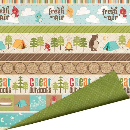 Imaginisce - Happy Camper Collection - 12 x 12 Double Sided Paper with Glossy Accents - Fireside Fun