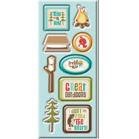 Imaginisce - Happy Camper Collection - Chipboard Stickers with Glossy Accents - Take a Hike