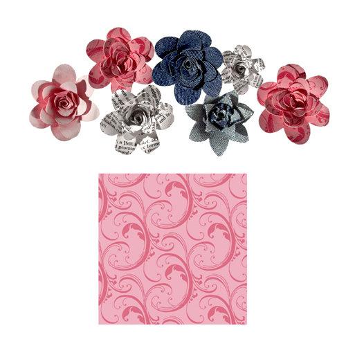 Imaginisce - Gotta Buy Basics Collection - Roly Rosies - Fabric - Pink Swirls