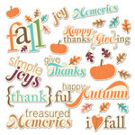 Imaginisce - Happy Harvest Collection - Die Cut Cardstock Pieces with Glossy Accents - Fall Phrases Word