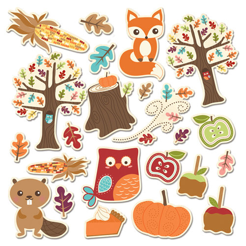 Imaginisce - Happy Harvest Collection - Die Cut Cardstock Pieces with Glossy Accents - Fall Friends Icon