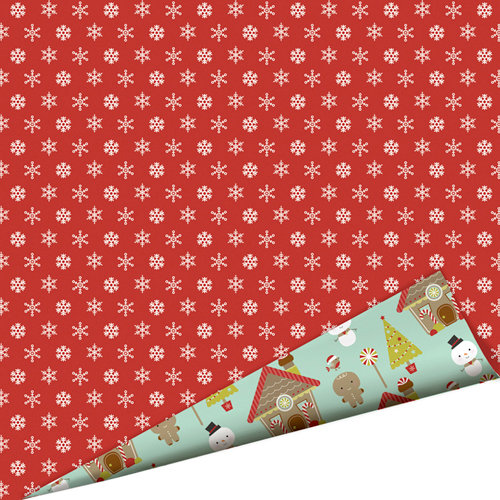 Imaginisce - Santa's Little Helper Collection - Christmas - 12 x 12 Double Sided Paper with Glossy Accents - Cinnamon Snowflake
