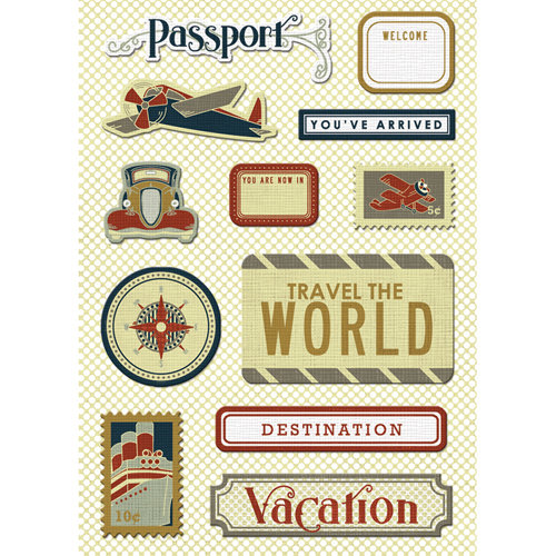 Imaginisce - Bon Voyage Collection - Canvas Stickers - Passport to Adventure