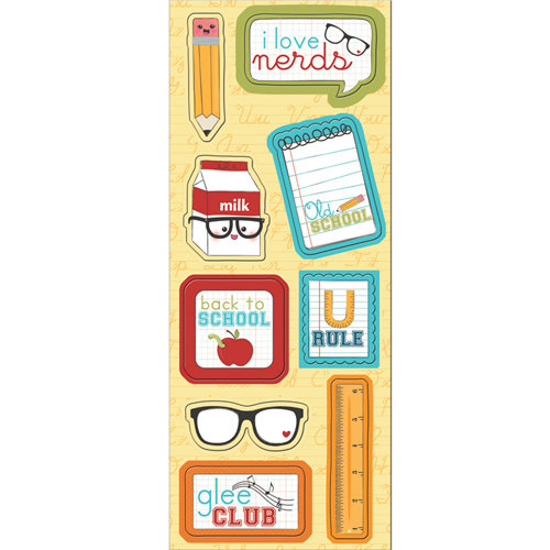 Imaginisce - Geek is Chic Collection - Chipboard Stickers with Glossy Accents - I Love Nerds