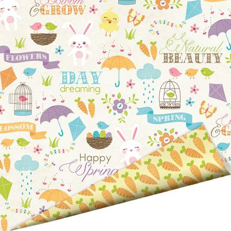 Imaginisce - Hippity Hop Collection - 12 x 12 Double Sided Paper with Glossy Accents - Honey Bunny