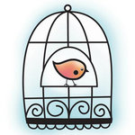 Imaginisce - Hippity Hop Collection - Snag 'em Acrylic Stamps - Bird Cage