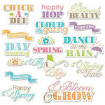Imaginisce - Hippity Hop Collection - Die Cut Cardstock Pieces with Glossy Accents - Cloud Gazing Word