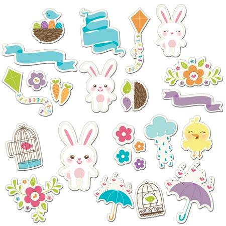 Imaginisce - Hippity Hop Collection - Die Cut Cardstock Pieces with Glossy Accents - Spring Time Icon