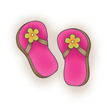 Imaginisce - Makin' Waves Collection - Snag 'em Acrylic Stamps - Flip Flops