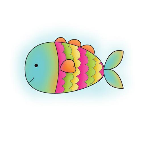 Imaginisce - Makin' Waves Collection - Snag 'em Acrylic Stamps - Fish
