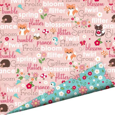 Imaginisce - Twitterpated Collection - 12 x 12 Double Sided Gloss Embossed Paper - Critter Chatter