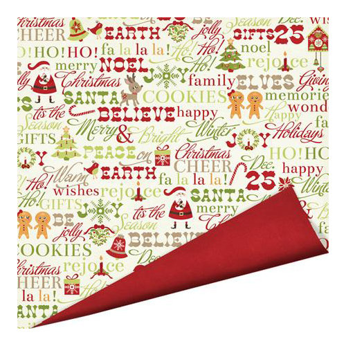 Imaginisce - Christmas Cheer Collection - 12 x 12 Double Sided Paper with Glossy Accents - Be Jolly