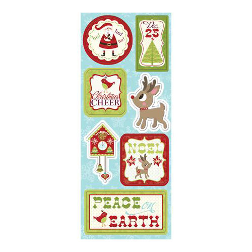Imaginisce - Christmas Cheer Collection - Chipboard Stickers with Glossy Accents - Peace on Earth