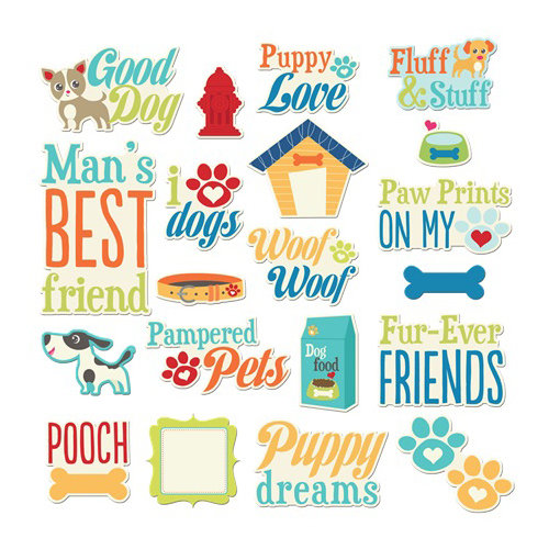 Imaginisce - Good Dog Collection - Die Cut Cardstock Pieces with Glossy Accents - Doggy