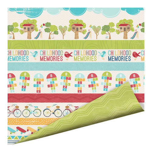 Imaginisce - Childhood Memories Collection - 12 x 12 Double Sided Paper - Memory Lane