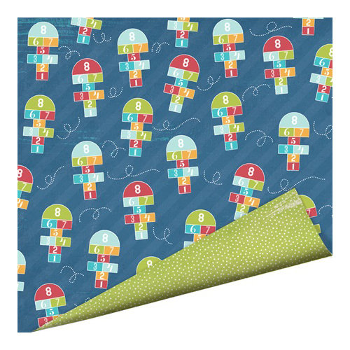 Imaginisce - Childhood Memories Collection - 12 x 12 Double Sided Paper - Hop Scotch