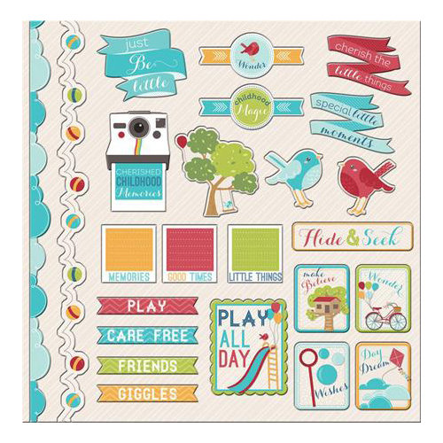 Imaginisce - Childhood Memories Collection - 12 x 12 Cardstock Stickers - Icons