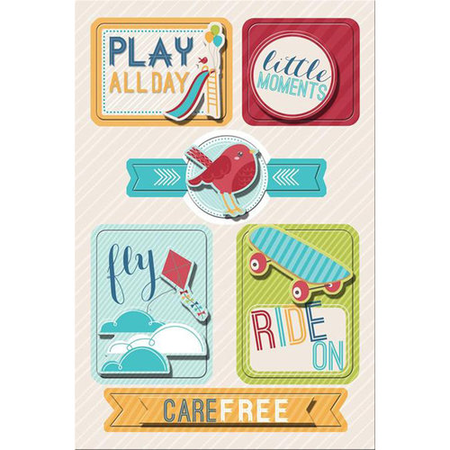 Imaginisce - Childhood Memories Collection - Sticker Stacker - 3 Dimensional Stickers with Glossy Accents - Kid's Stuff