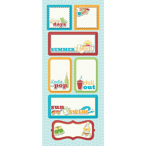 Imaginisce - Endless Summer Collection - Sticker Stacker - 3 Dimensional Stickers with Glossy Accents - Lazy Days
