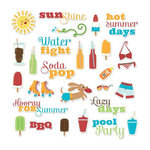 Imaginisce - Endless Summer Collection - Die Cut Cardstock Pieces with Glossy Accents - Summer