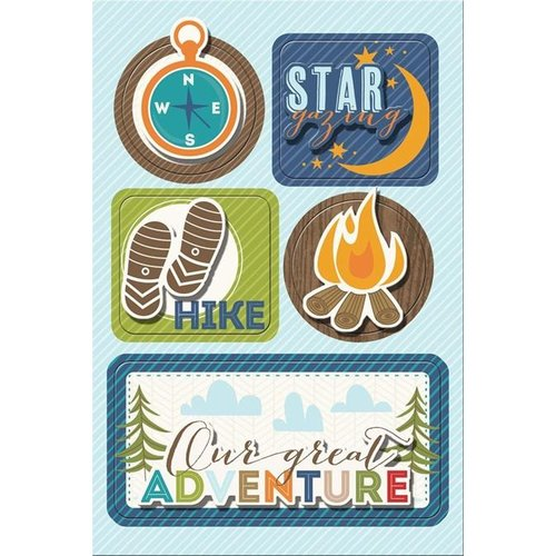 Imaginisce - Outdoor Adventure Collection - Sticker Stacker - 3 Dimensional Stickers with Glossy Accents - S'more