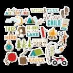 Imaginisce - Outdoor Adventure Collection - Die Cut Cardstock Pieces with Glossy Accents - Gone Camping