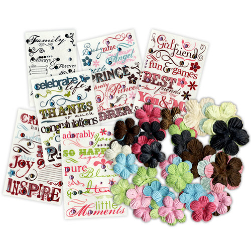 Imaginisce - Say The Word - Rub Ons and Rhinestones Kit