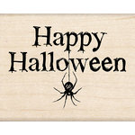 Inkadinkado - Halloween Collection - Wood Mounted Stamps - Happy Halloween with Spider