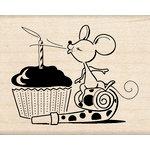 Inkadinkado - Birthday Fun Collection - Wood Mounted Stamps - Mouse Cupcake