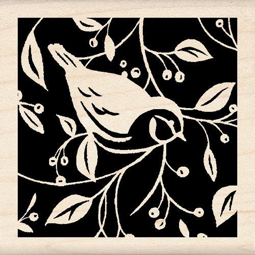 Inkadinkado - Designer Collection - Wood Mounted Stamps - Single Bird Square