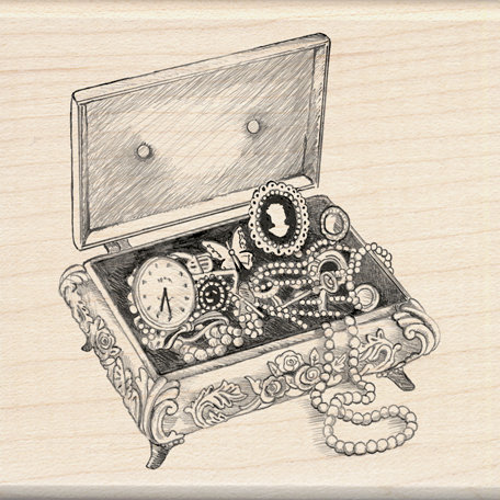 Inkadinkado Sketches Collection Wood Mounted Stamps Jewelry Box