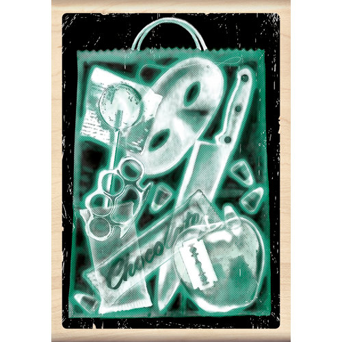 Inkadinkado - Clinical Halloween Collection - Wood Mounted Stamps - X-Ray Trick or Treat Bag