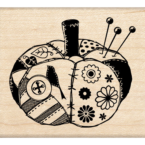 Inkadinkado - Crafted Treasures Collection - Wood Mounted Stamps - Fabric Pumpkin