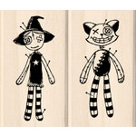 Inkadinkado - Crafted Treasures Collection - Halloween - Wood Mounted Stamps - Voodoo Dolls