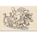 Inkadinkado - Holiday Collection - Christmas - Wood Mounted Stamps - Santa and Sleigh