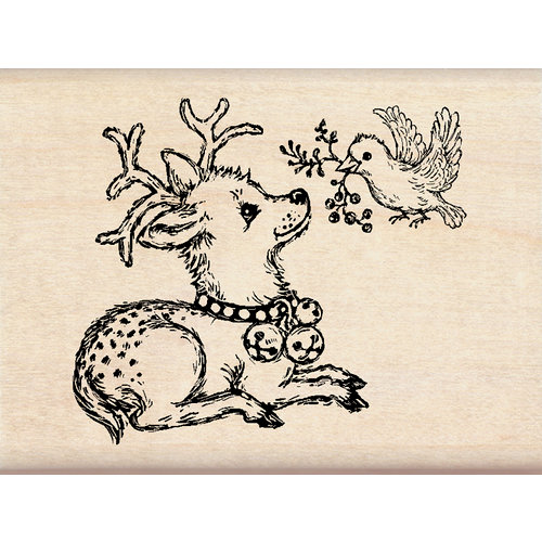 Inkadinkado - Holiday Collection - Christmas - Wood Mounted Stamps - Dear and Bird