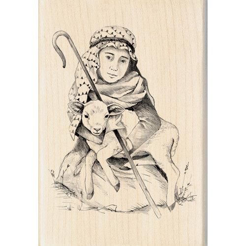 Inkadinkado - Holiday Collection - Christmas - Wood Mounted Stamps - Shepherd Boy